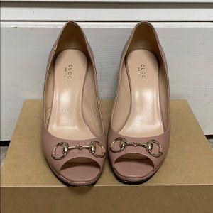 Gucci leather horsebit pump heels